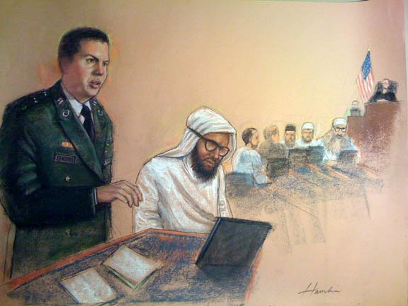Military lawyer and litigator Jon Jackson defending client before the Military Commissions in Guantanamo Bay, Cuba.
