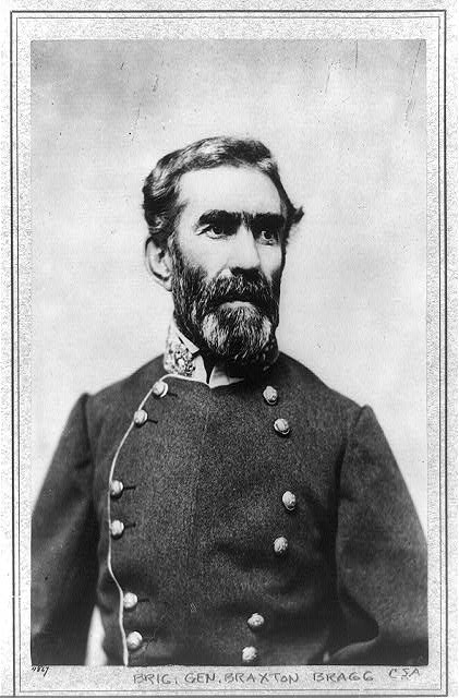 General Braxton Bragg. United States, None. [Photographed between 1861 and 1865, printed later] [Photograph] Retrieved from the Library of Congress, https://www.loc.gov/item/2001695009/.