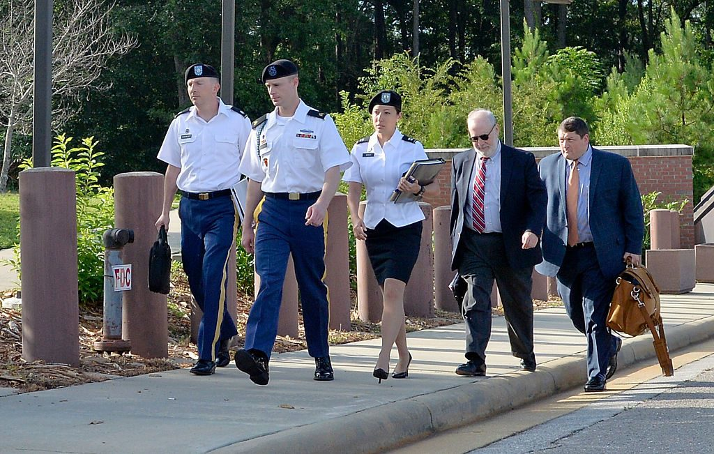 FT. BRAGG, NC - JULY 7: U.S. Army Sgt. Robert Bowdrie 'Bowe' Bergdahl, 30 of Hailey, Idaho, arrives at the Ft. Bragg military courthouse with his military and civilian legal counsel (Eugene Fidell and Will M. Helixon) for a pretrial military hearing on July 7, 2016, in Ft. Bragg, North Carolina. Bergdahl faces charges of desertion and endangering troops stemming from his decision to leave his outpost in 2009, which landed him five years in Taliban captivity. (Photo by Sara D. Davis/Getty Images)