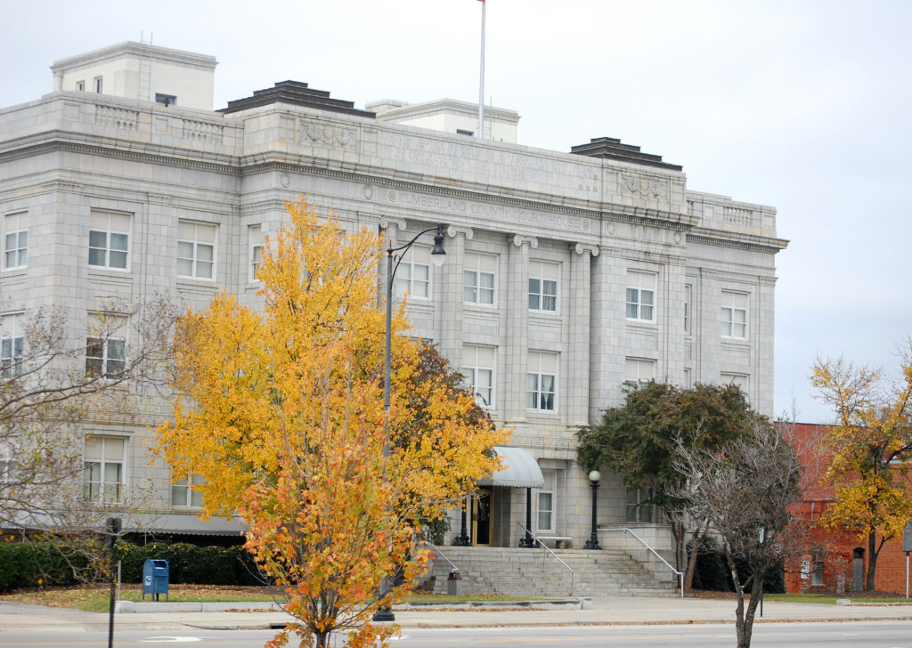 Designed by acclaimed architect Harry Barton, the Cumberland County Courthouse is a historic courthouse building, constructed in 1925-1926. It is located in Fayetteville, Cumberland County.