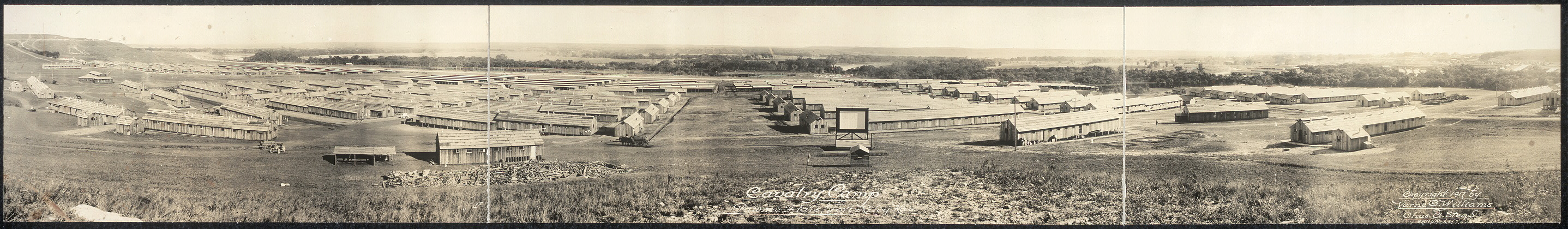 Williams, V. O. & Stead, C. A. (ca. 1917) Cavalry Camp, Pawnee Flats, Fort Riley, Kas. Fort Riley Kansas United States, ca. 1917. [Photograph] Retrieved from the Library of Congress, https://www.loc.gov/item/2007664122/.