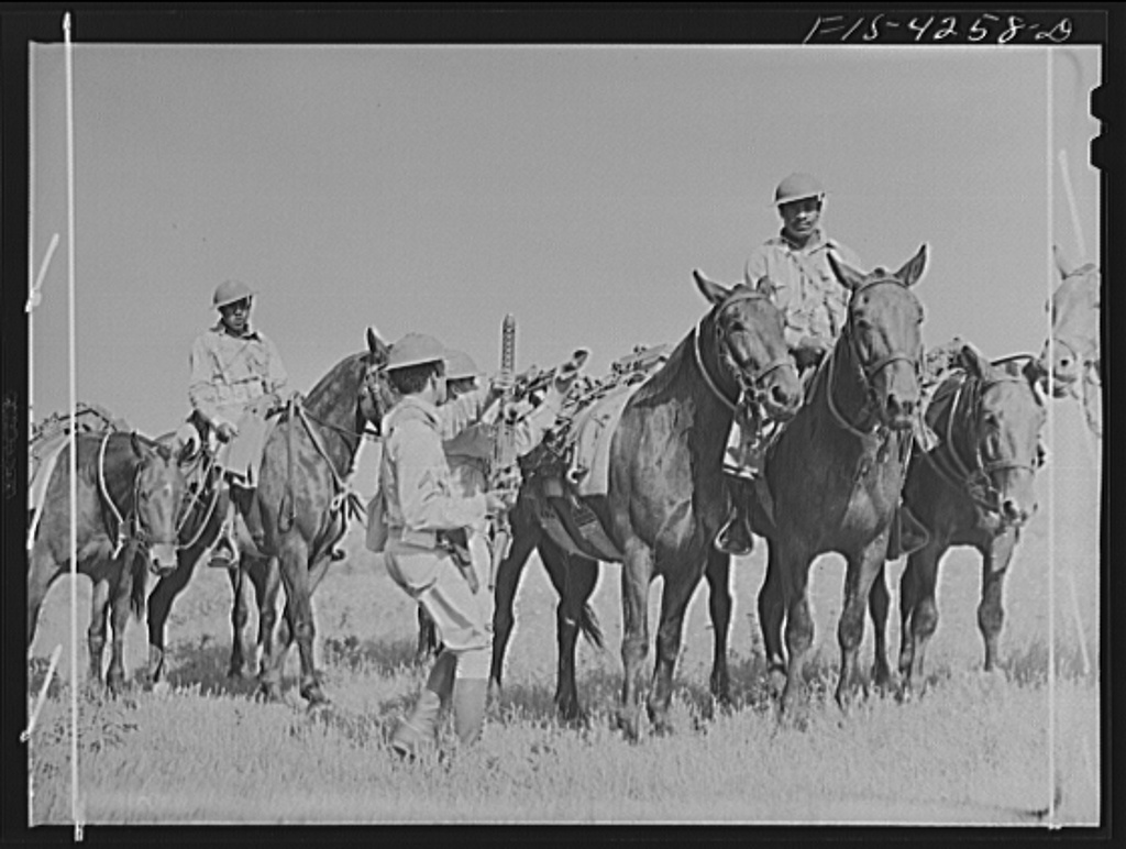 Delano, J., photographer. (1942) Fort Riley, Kansas. Cavalry machine gun unit dismounting to get guns into action. Fort Riley Kansas, 1942. Apr. [Photograph] Retrieved from the Library of Congress, https://www.loc.gov/item/owi2001006508/PP/.