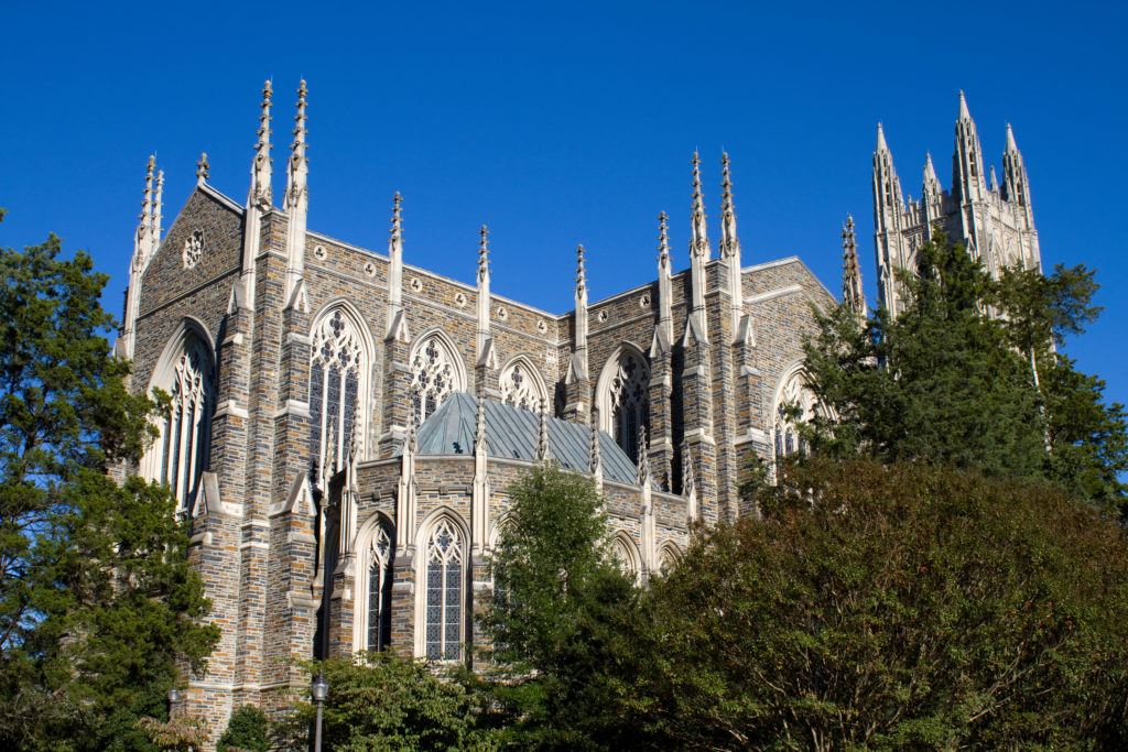 The Duke Chapel, first used for Commencement in 1932, inspired by English Gothic style, was formally dedicated on June 2, 1935.