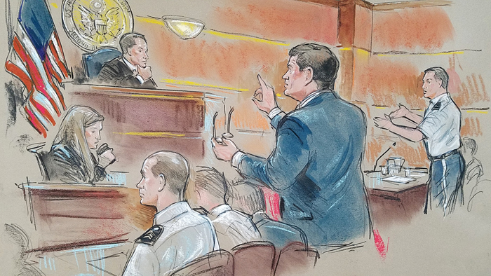 Will M. Helixon arguing a Motion to Compel in a trial at Fort Bragg, North Carolina.