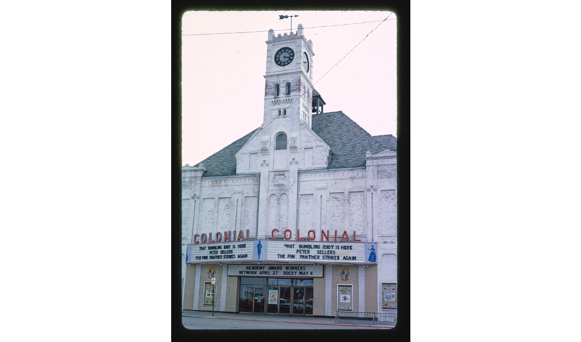 Margolies, J., photographer. (1977) Colonial Theater, 7th Street. Junction City Kansas United States, 1977. [Photograph] Retrieved from the Library of Congress, https://www.loc.gov/item/2017703308/. Originally the Opera House, it opened in 1882 and was ravaged by fire in 1898. Rebuilt, it served as a theater until 1982. Today, the Junction City Opera House Foundation works to restore this historic building to its grand state.