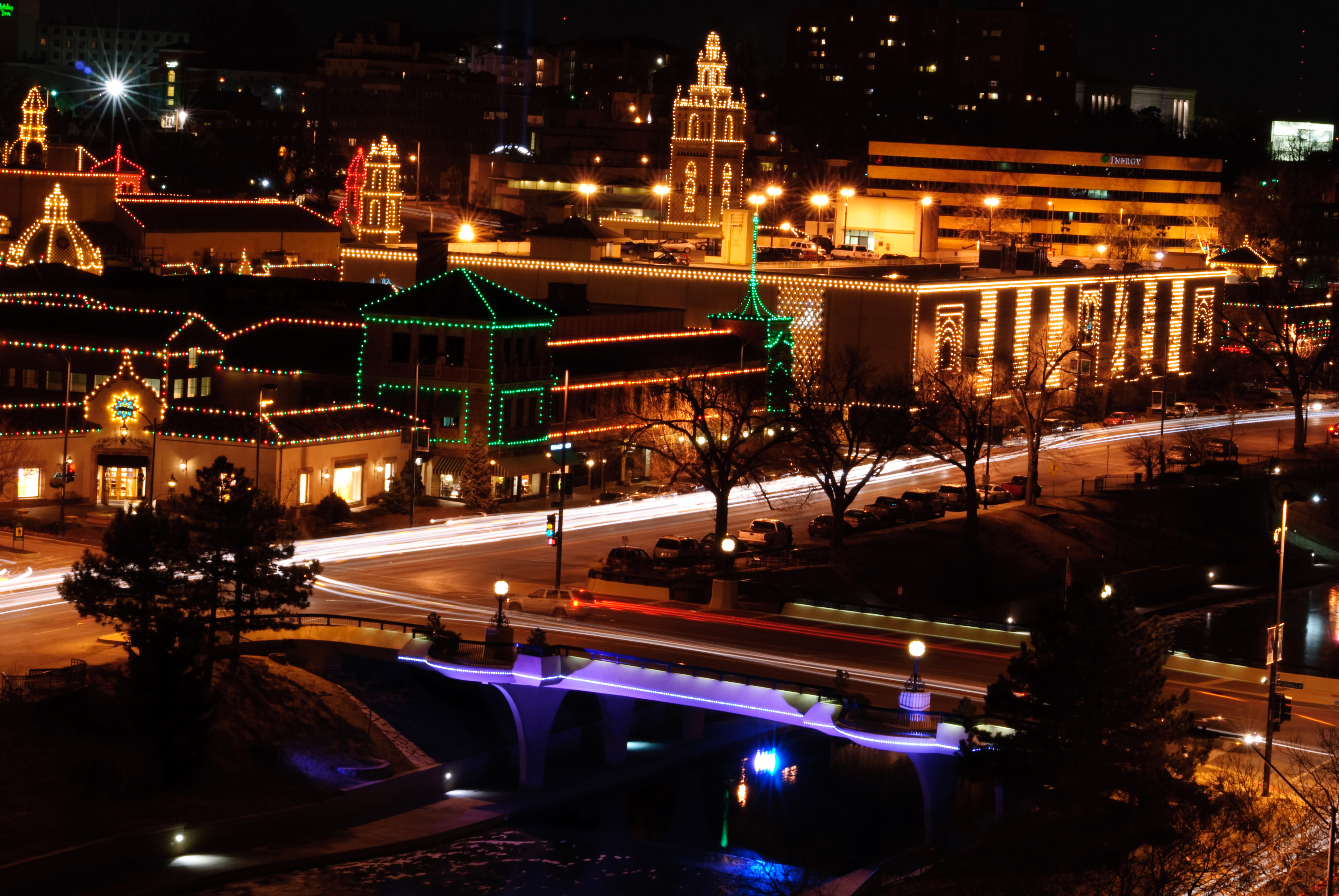 Christmas lights adorn the shops and businesses in the Country Club Plaza in Kansas City, Missouri. The Law Office of Will M. Helixon maintains a office in the Plaza on Nichols Road.